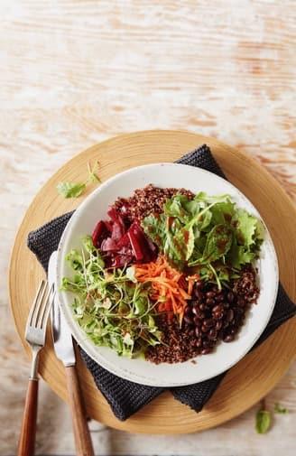 Quinoa Black Bean and Kale Bowl with Sriracha Apricot Dressing